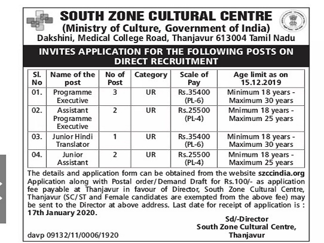SZCC India Recruitment 2020