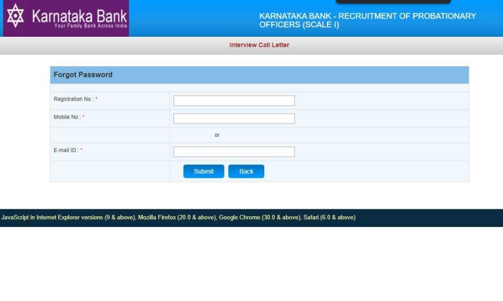 Karnataka Bank PO Hall Ticket 2020