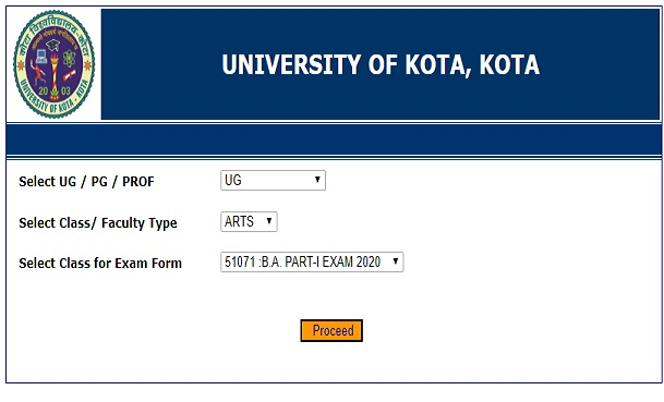 UOK BA BSc BCom Admit Card 2020 Name Wise